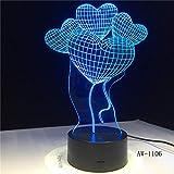 Nur 1 Stück Four Love Flower Ballon LED 3D-Leuchten Creative Home 3D Bunte Berührung Acryl LED...