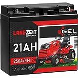LANGZEIT Rasentraktor Batterie 12V 21Ah 250A/EN Gel Batterie Akku 12V doppelte Lebensdauer ersetzt...