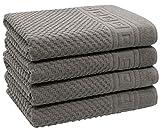 ZOLLNER 4er Set Duschtücher mit Waffelmuster, 100% Baumwolle, 70x140 cm, grau