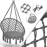 KESSER® Hängesessel 150kg mit 2 Stahlringe Sitzpolster geflochten Fransen Hängestuhl Hängekorb...