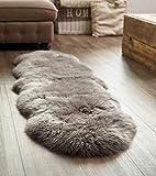 Yukon International groer Schafffell Teppich, 180cm x 55cm ca., grau, echte Schafwolle, kologischer...