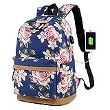 Rucksack für Mädchen, Mode Florale Hochschule Taschen Schüler Schule Rucksack mit USB Aufladen...