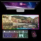 RGB Gaming Mauspad XL,Cinque Terre Extended Large Led Mauspad Schreibtischpad,Mousepad mit Genähten...