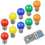 Huamu 10er-Pack farbige Glühbirnen Party Glühbirnen LED 2 W E27 G45 Beleuchtungsbirnen, bunte...