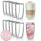 Dimono Doppelwandiges Trinkglas 450ml Wasserglas Glas doppelwandig Latte Macchiato Longdrink-Gläser...