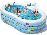 Peradix Aufblasbare Pool, 240 x 150 x 60 cm Planschbecken Groß, Familienpool, Schwimmbecken für...