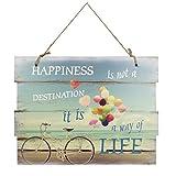 Woodpassion Holzschild 30x40 cm Happiness Way of Life Wandschild Schild Dekoschild Spruch Vintage...