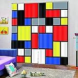 Vorhänge Blickdicht Gardine Wohnzimmer Reduzieren Lärm - Dichte Farbige Quadrate - Vorhang Mit...