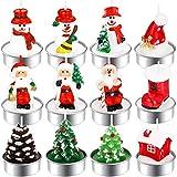 12 Stück Weihnachten Teelicht Kerzen Christmas xmas candle Handgemachte Zarte Weihnachtsmann,...