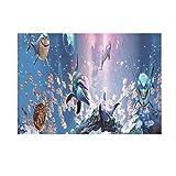 HomeDecTime Aquarium Hintergrund Rückwand Dekoration - Delphin und Hai, 61 x 41 cm