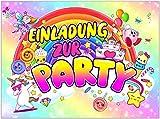 VULAVA 12x EINLADUNGSKARTEN für Party und Kindergeburtstag - die Karten im frech bunten Einhorn...