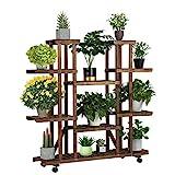 Yaheetech Blumenregal Holz 6 Ebenen Blumenständer Blumenbank mit Rädern für Balkon Wohzimmer...