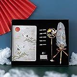 White Crane Feather Pen Set, Retro Feather Pen Set, Feather Pen Handbuch Set-Mountain Pine