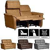 Cavadore 2-Sitzer Sofa Chalsay inkl. verstellbarem Kopfteil und Relaxfunktion/ mit Federkern / 2er...