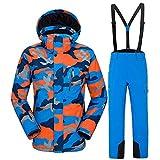 Acant Herren Skianzüge Set Outdoor Skisport Print Fashion Leichte Jacke/Hose B Blue-XL