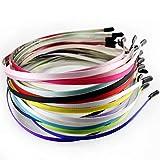 TYWZJ 10 Stück DIY Plain Hair Hoop Mischfarbe Stirnband Stoff bedeckt Stirnbänder DIY Mädchen...