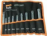 HRB Rohrsteckschlüsselsatz 10-tlg. Größen 6-22 mm, Schraubenschlüssel Satz in bequemer Tetron...
