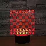 Schach 3D Illusion Lampe Nachtlicht Tischlampe, 7 Farben Auto Ändern Touch Schalter Schreibtisch...