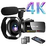 Videokamera 4K Video Camcorder 30.0MP18X Digital Zoom Ultra HD Vlogging Camcorder mit Mikrofon 3'LCD...