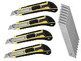 LEDLUX 4 Kit cutter messer,cuttermesser,teppichmesser professionnel 18 mm, Professional Cutter,...