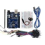 Sunnyflowk Arduino UNO Starter Kit 400-Punkt-Brotschneidebrett 65 Jumper USB & Batteriekabel-Mini...