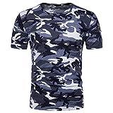 Herren Sport T-Shirt Fitness T-Shirt Herren Camouflage Streifenmuster Lässige Mode Rundhals Kurzarm...