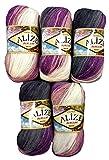 Alize Burcum Batik 5 x 100 Gramm Wolle Mehrfarbig mit Farbverlauf, 500 Gramm Strickwolle (lila Beere...