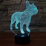3D optische Illusionslampe Tier Hund Bulldogge LED Nachtlicht Wohnzimmer Kinder Schlafzimmer Dekor...