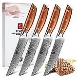 XINZUO Damaststahl 4-teilig Steakmesser Set, 12.7cm Premium Besteckmesser Set Scharfe Steakbesteck...