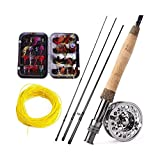 YOBAIH Angelrute Set Fliegenfischen Rod Set 2.7M Fliegenrute und 2 Farbe Fly Fishing Reel Combo and...