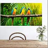 N / A Moderne australische Papagei Schwarze Kakadu Leinwand Wandkunst Marine Vogel Poster rahmenlose...