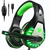 Pacrate Gaming Headset für PS4 PS5 PC Xbox One, Xbox Series X LED Clarity Sound Kopfhörer,...