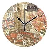 BKEOY Wanduhren mit Vintage-Maleroberfläche, Vintage-Design, London Postkarte, geräuschlos, Nicht...