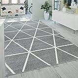 Paco Home Kurzflor Teppich Grau Wei Wohnzimmer Rauten Muster Skandi Design Weich Robust,...