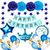 RPANDA Blau-weiße Party-Luftballons für Jungen und Babys, zum ersten Geburtstag, Banner als...