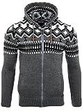 Reslad Herren Grobstrick Norweger Pullover Winter Strickjacke Kapuzenpullover RS-3104 (M, Anthrazit)