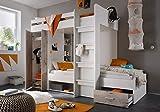 Etagenbett weiß / grau inkl Kleiderschrank + Schubkasten + Regale Hochbett Kinderbett Kinderzimmer...