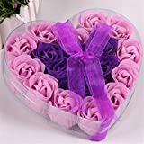 XIAOSHI Geschenkbox 18 stücke Künstliche Blume Seife Rose Kopf Herz Ribbon Geschenk Box Für...