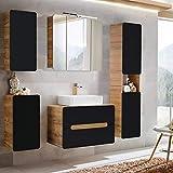 Lomadox Badezimmermöbel Set mit Keramik-Waschtisch & LED-Spiegelschrank seidenmatt anthrazit mit...