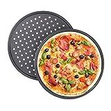 Relaxdays Pizzablech, 2er Set, rund, gelocht, antihaft, Pizza & Flammkuchen, Carbonstahl,...