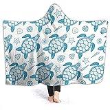 YOUKUHA Meeresschildkrte und Muscheln Kinder & Erwachsene Bettdecke Soft Printed Hooded Blanket...