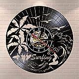 wtnhz LED-Schallplattenwanduhr Schallplatte Wanduhr Uhr Wohnzimmer Schlafzimmer Restaurant Wand