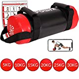 POWRX Power Bag 5-30 kg Kunstleder Fitness Bag für Functional Fitness (20 kg Schwarz/Rot)