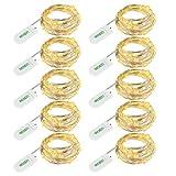 LEDGLE 10er Stück LED Lichterkette Batterie Kupfer Drahtlichterkette Warmweiß 1.2M&24LEDs...
