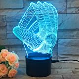 3D Baseball Handschuh Led Nachtlicht, Kreative 3D Illusion Effekt Usb Lade Led Nachtlampe Mit 7...
