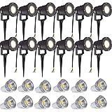 SAILUN 12 x 3W LED Gartenleuchte Rasen Licht mit Erdspie, Matt-Schwarz, Warmwei 85-265V, wasserdicht...