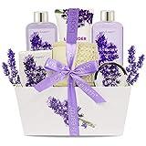 Frauen Geschenke,Body & Earth 6Pcs Lavendel Wellness Set für Frauen, Enthält Duschgel,...