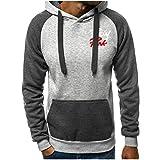 Lomelomme Mantel Sweatshirt mit Kapuze Herren Freizeit Patchwork Slim Fit HoodiePrint Bluse...