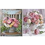 Heyu-Lotus DIY Malen nach Zahlen Kits, Rose Flowers Leinwand Ölgemälde Kit für Erwachsene Kinder...