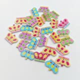 JoyRolly 100Pcs Crown Shape 2 Lcher Holzknpfe zum Nhen Scrapbooking Crafting Ornament Art DIY Dekor